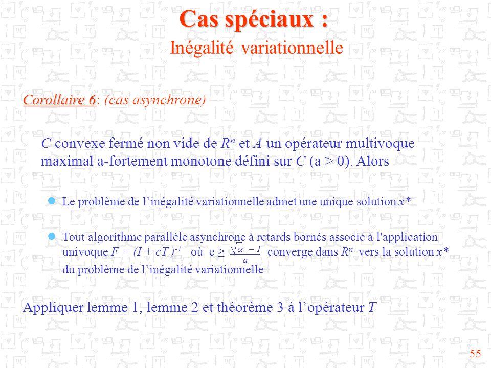 55 Cas spéciaux : Cas spéciaux : Inégalité variationnelle Corollaire 6 Corollaire 6: (cas asynchrone) C convexe fermé non vide de R n et A un opérateur multivoque maximal a-fortement monotone défini sur C (a > 0).