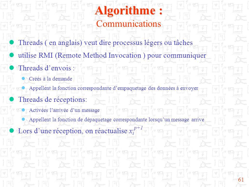 61 Algorithme : Algorithme : Communications  Threads ( en anglais) veut dire processus légers ou tâches  utilise RMI (Remote Method Invocation ) pour communiquer  Threads d'envois :  Créés à la demande  Appellent la fonction correspondante d'empaquetage des données à envoyer  Threads de réceptions:  Activées l'arrivée d'un message  Appellent la fonction de dépaquetage correspondante lorsqu'un message arrive  Lors d'une réception, on réactualise x i p+1