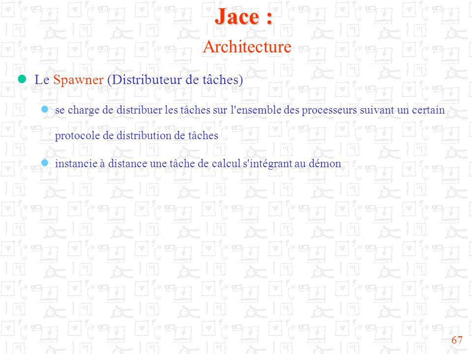 67  Le Spawner (Distributeur de tâches)  se charge de distribuer les tâches sur l ensemble des processeurs suivant un certain protocole de distribution de tâches  instancie à distance une tâche de calcul s intégrant au démon Jace : Jace : Architecture