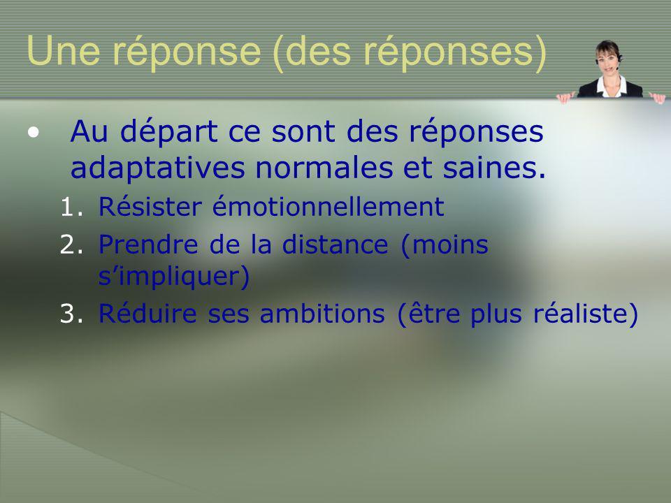 Une réponse (des réponses) •Au départ ce sont des réponses adaptatives normales et saines.