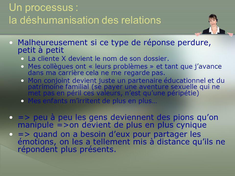 Un processus : la déshumanisation des relations •Malheureusement si ce type de réponse perdure, petit à petit •La cliente X devient le nom de son dossier.