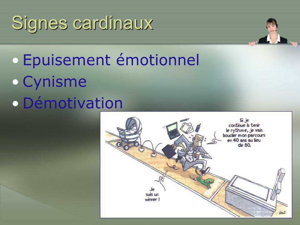 Signes cardinaux •Epuisement émotionnel •Cynisme •Démotivation