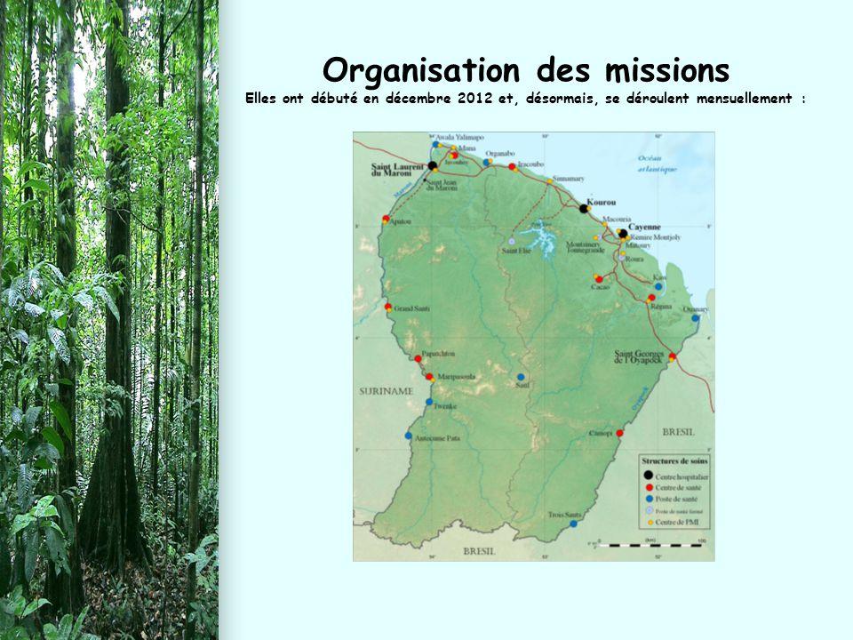Organisation des missions Elles ont débuté en décembre 2012 et, désormais, se déroulent mensuellement :