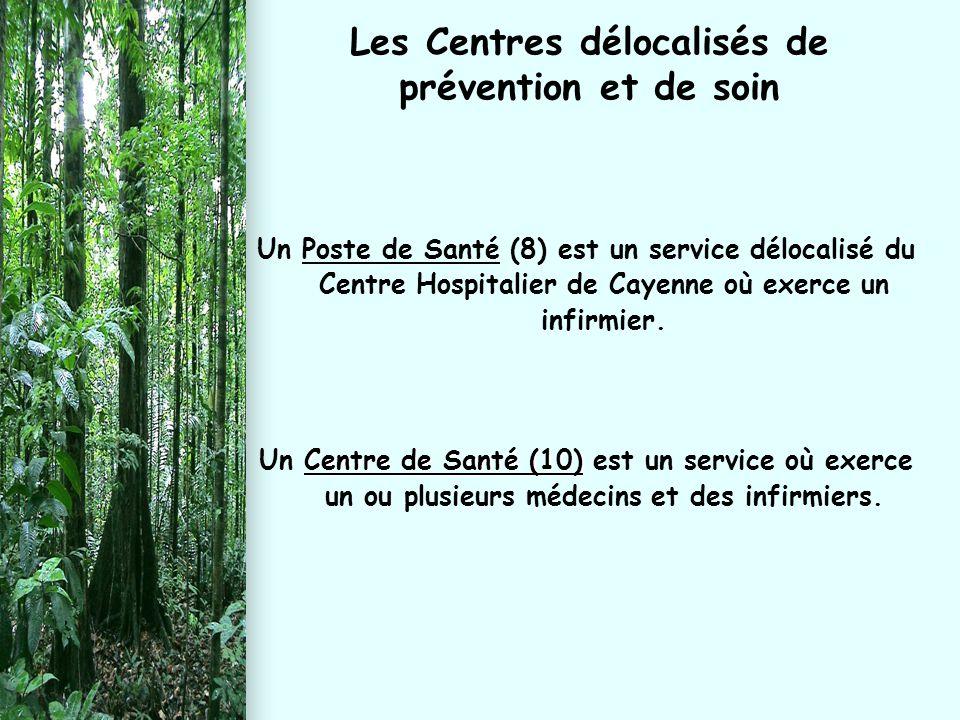 Les Centres délocalisés de prévention et de soin Un Poste de Santé (8) est un service délocalisé du Centre Hospitalier de Cayenne où exerce un infirmi