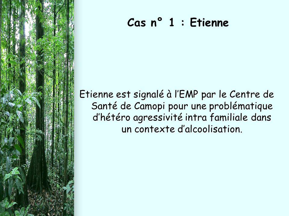 Etienne est signalé à l'EMP par le Centre de Santé de Camopi pour une problématique d'hétéro agressivité intra familiale dans un contexte d'alcoolisat