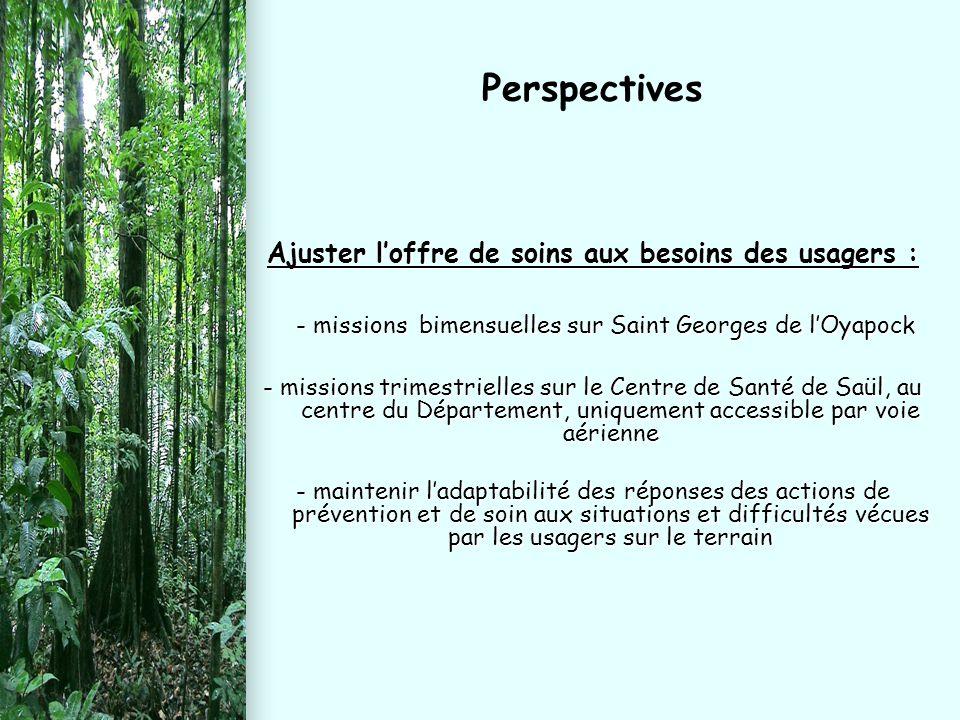 Ajuster l'offre de soins aux besoins des usagers : - missions bimensuelles sur Saint Georges de l'Oyapock - missions bimensuelles sur Saint Georges de