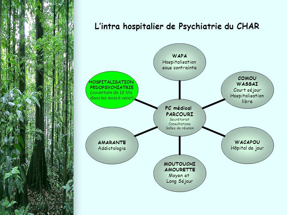 L'intra hospitalier de Psychiatrie du CHAR PC médical PARCOURI Secrétariat Consultations Salles de réunion WAPA Hospitalisation sous contrainte COMOU
