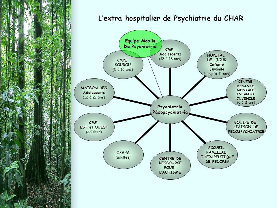 L'extra hospitalier de Psychiatrie du CHAR Psychiatrie Pédopsychiatrie CMP Adolescents (12 à 16 ans) HOPITAL DE JOUR Infanto Juvénile (jusqu'à 11 ans)