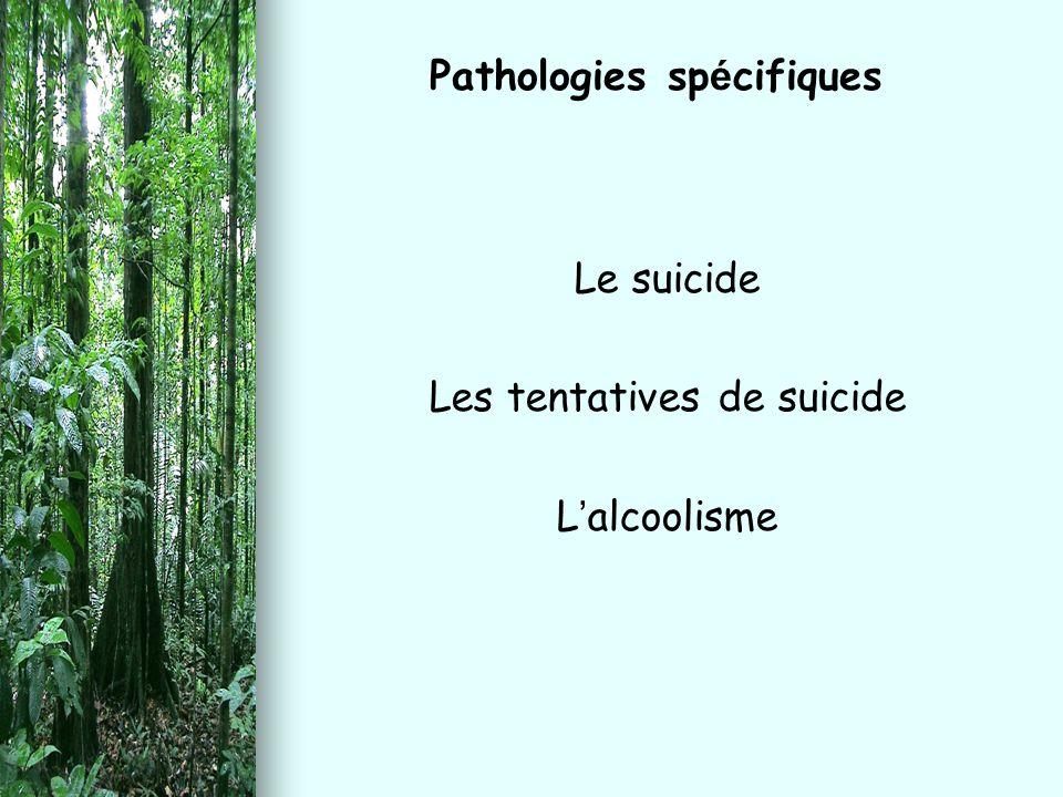 Le suicide Les tentatives de suicide L ' alcoolisme Pathologies sp é cifiques