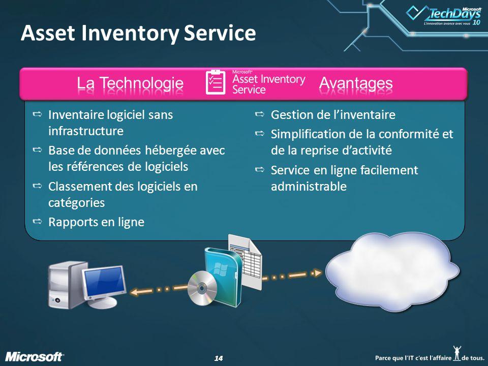 14 Asset Inventory Service Inventaire logiciel sans infrastructure Base de données hébergée avec les références de logiciels Classement des logiciels