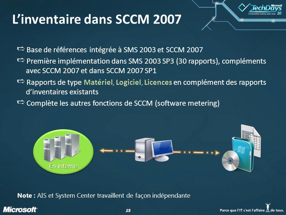 15 Base de références intégrée à SMS 2003 et SCCM 2007 Première implémentation dans SMS 2003 SP3 (30 rapports), compléments avec SCCM 2007 et dans SCC