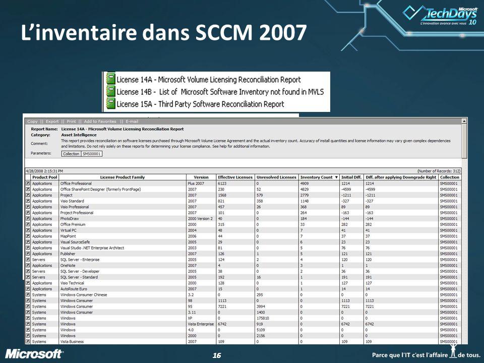 16 L'inventaire dans SCCM 2007