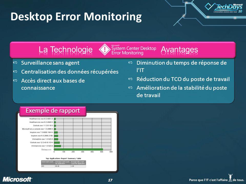 17 Exemple de rapport Desktop Error Monitoring Surveillance sans agent Centralisation des données récupérées Accès direct aux bases de connaissance Di