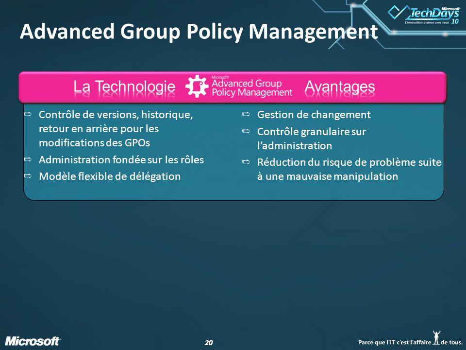 20 Advanced Group Policy Management Contrôle de versions, historique, retour en arrière pour les modifications des GPOs Administration fondée sur les