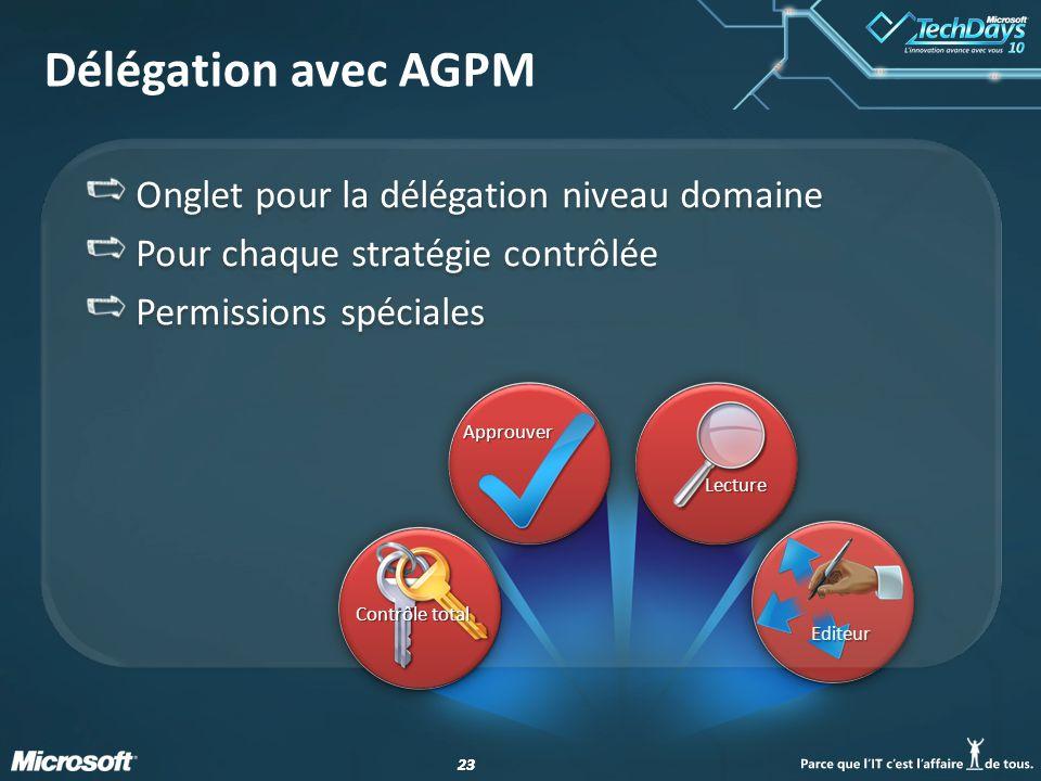 23 Editeur Délégation avec AGPM Onglet pour la délégation niveau domaine Pour chaque stratégie contrôlée Permissions spéciales Onglet pour la délégati