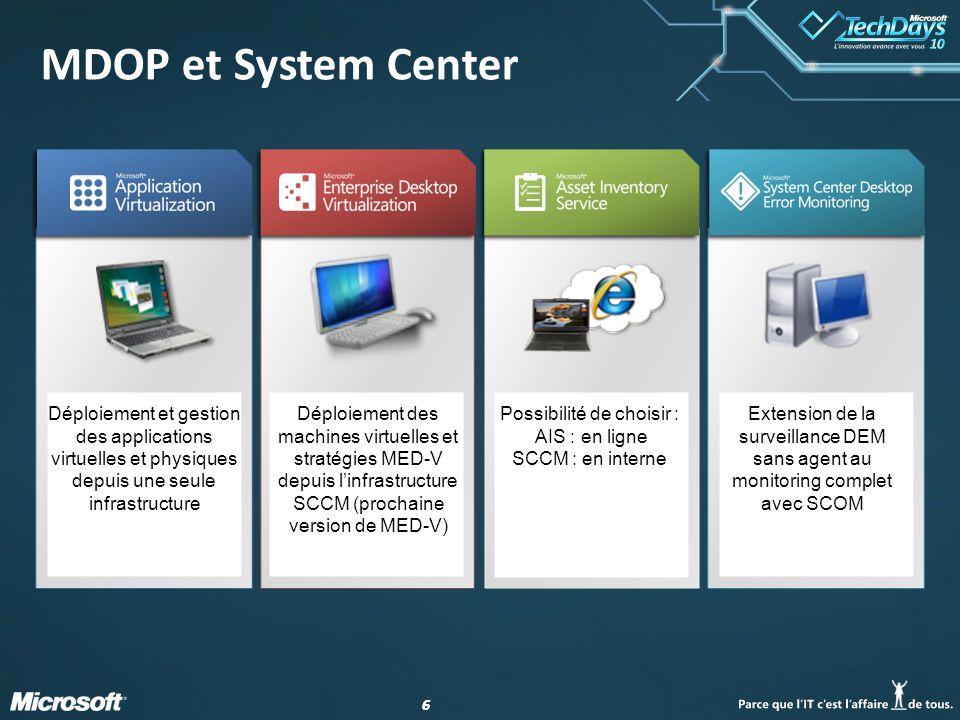 66 MDOP et System Center Déploiement et gestion des applications virtuelles et physiques depuis une seule infrastructure Déploiement des machines virt