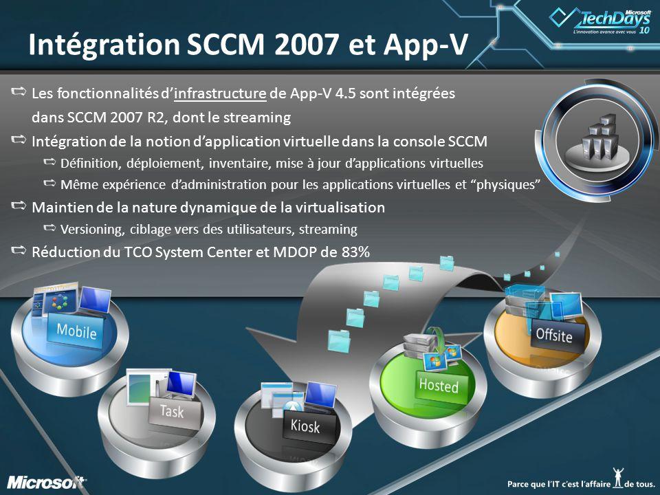 88 Les fonctionnalités d'infrastructure de App-V 4.5 sont intégrées dans SCCM 2007 R2, dont le streaming Intégration de la notion d'application virtue