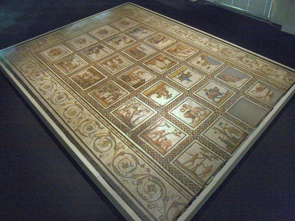 •Cette très belle mosaïque a été découverte en 1891 sur les bords du Rhône à St Romain-en- Gal, près de Vienne. Vendue au musée du Louvre, elle es tra