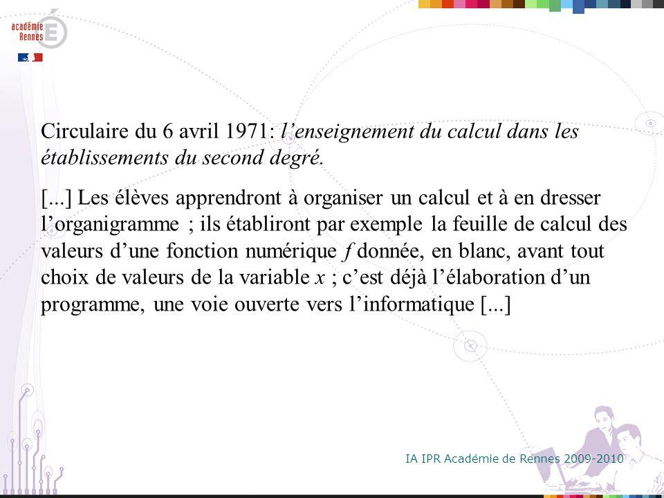IA IPR Académie de Rennes 2009-2010 Arrêté du 26 janvier 1981 Programme de la classe de seconde.