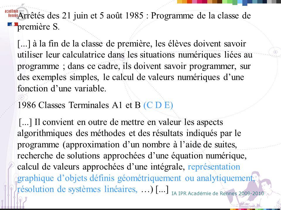 IA IPR Académie de Rennes 2009-2010 Arrêtés des 21 juin et 5 août 1985 : Programme de la classe de première S.