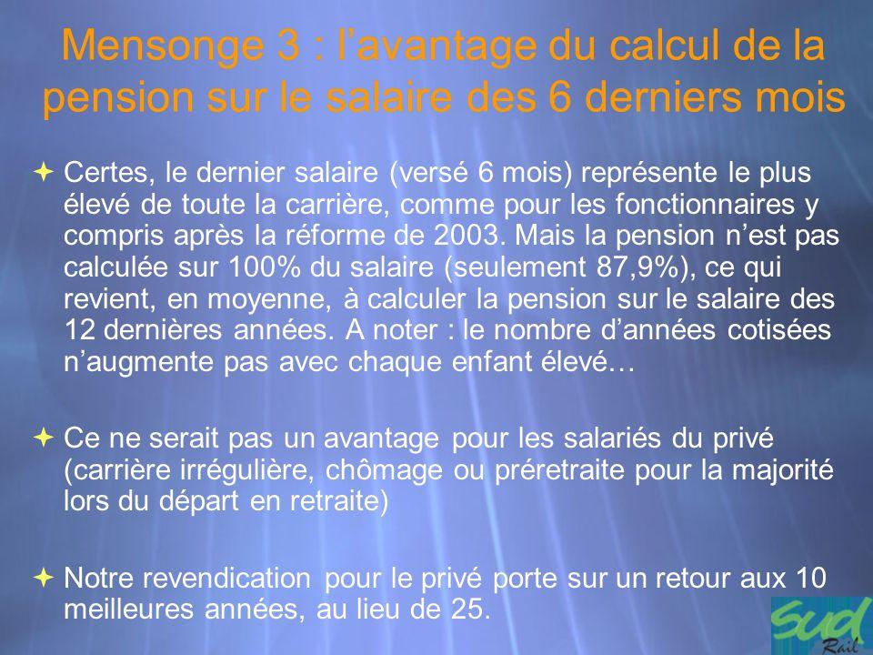 Mensonge 3 : l'avantage du calcul de la pension sur le salaire des 6 derniers mois  Certes, le dernier salaire (versé 6 mois) représente le plus élev