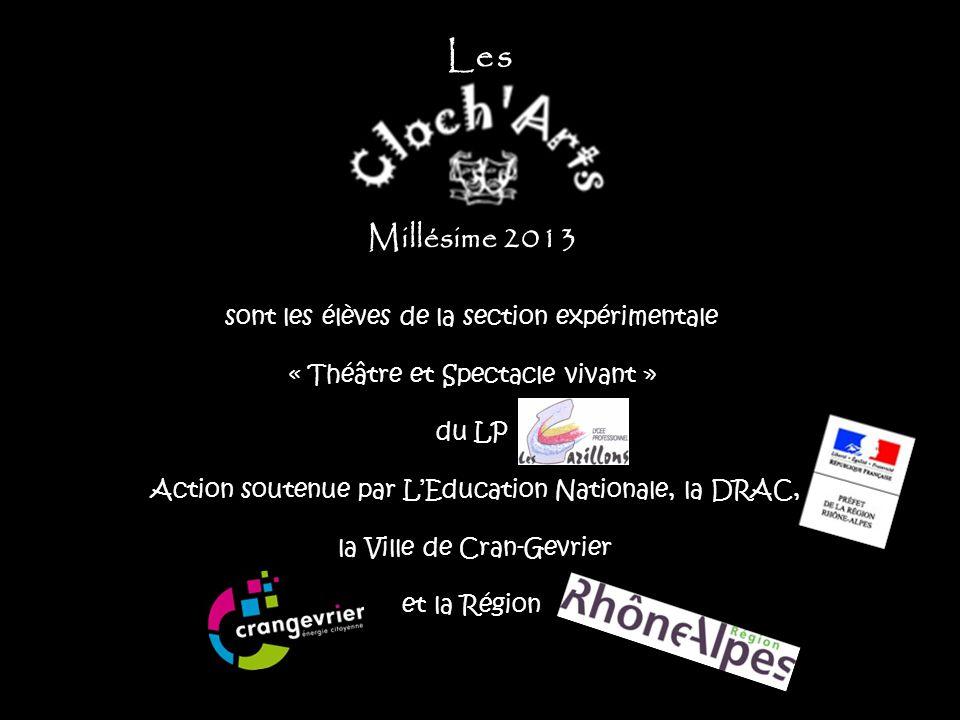 Millésime 2013 sont les élèves de la section expérimentale « Théâtre et Spectacle vivant » du LP Action soutenue par L'Education Nationale, la DRAC, l