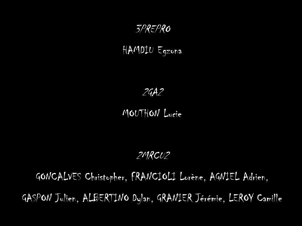 3PREPRO HAMDIU Egzona 2GA2 MOUTHON Lucie 2MRCU2 GONCALVES Christopher, FRANCIOLI Lorène, AGNIEL Adrien, GASPON Julien, ALBERTINO Dylan, GRANIER Jérémi
