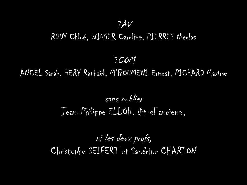 TAV RUDY Chloé, WIGGER Caroline, PIERRES Nicolas TCOM ANCEL Sarah, HERY Raphaël, M'BOUMENI Ernest, PICHARD Maxime sans oublier Jean-Philippe ELLOH, di