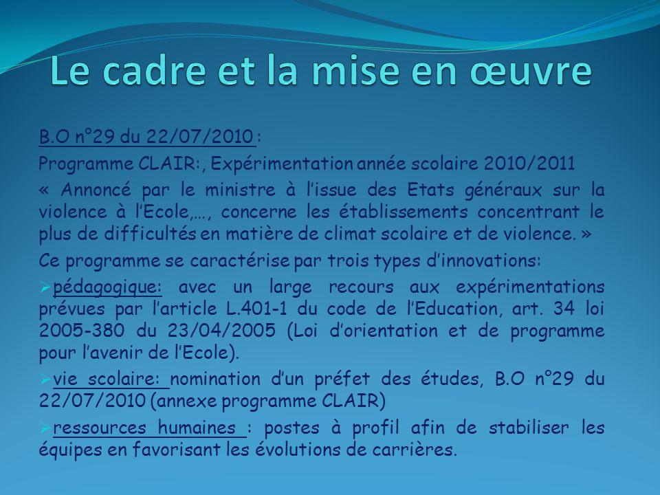B.O n°29 du 22/07/2010 : Programme CLAIR:, Expérimentation année scolaire 2010/2011 « Annoncé par le ministre à l'issue des Etats généraux sur la viol