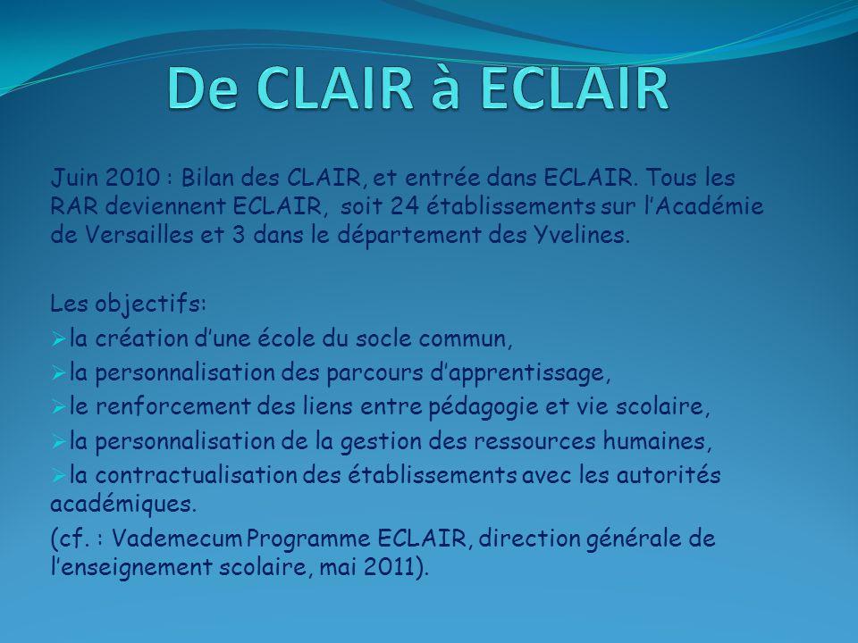 Juin 2010 : Bilan des CLAIR, et entrée dans ECLAIR. Tous les RAR deviennent ECLAIR, soit 24 établissements sur l'Académie de Versailles et 3 dans le d