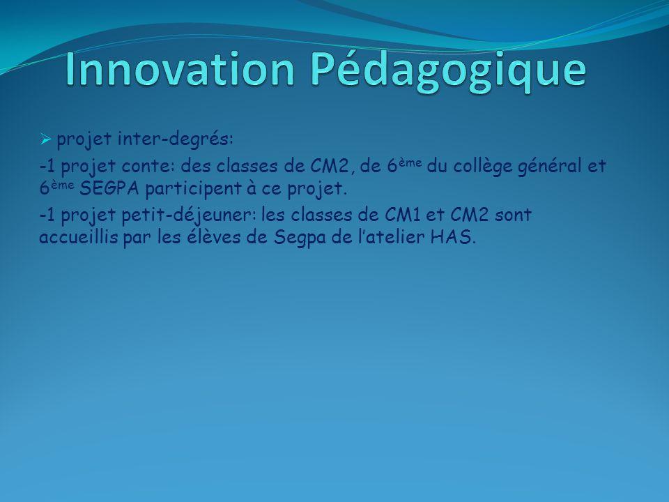  projet inter-degrés: -1 projet conte: des classes de CM2, de 6 ème du collège général et 6 ème SEGPA participent à ce projet. -1 projet petit-déjeun