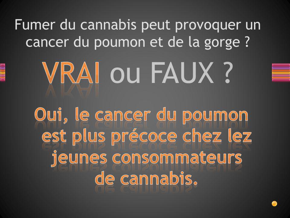 VRAI ou FAUX ? Fumer du cannabis peut provoquer un cancer du poumon et de la gorge ?