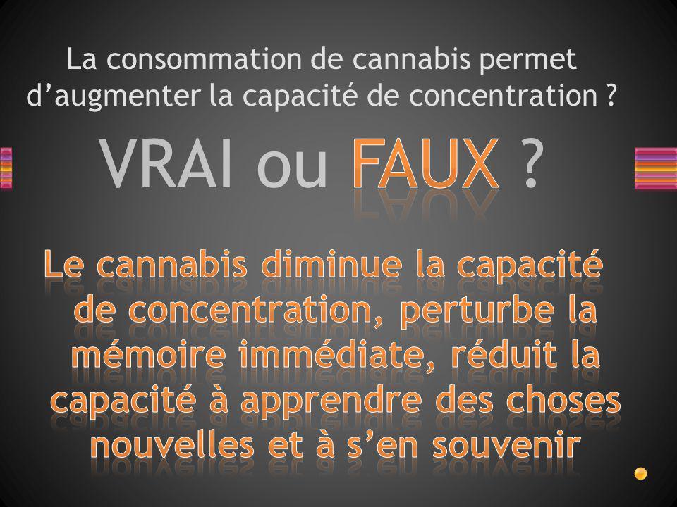 VRAI ou FAUX ? La consommation de cannabis permet d'augmenter la capacité de concentration ?