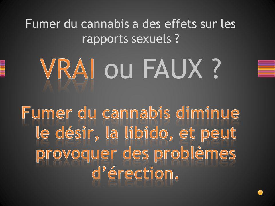VRAI ou FAUX ? Fumer du cannabis a des effets sur les rapports sexuels ?