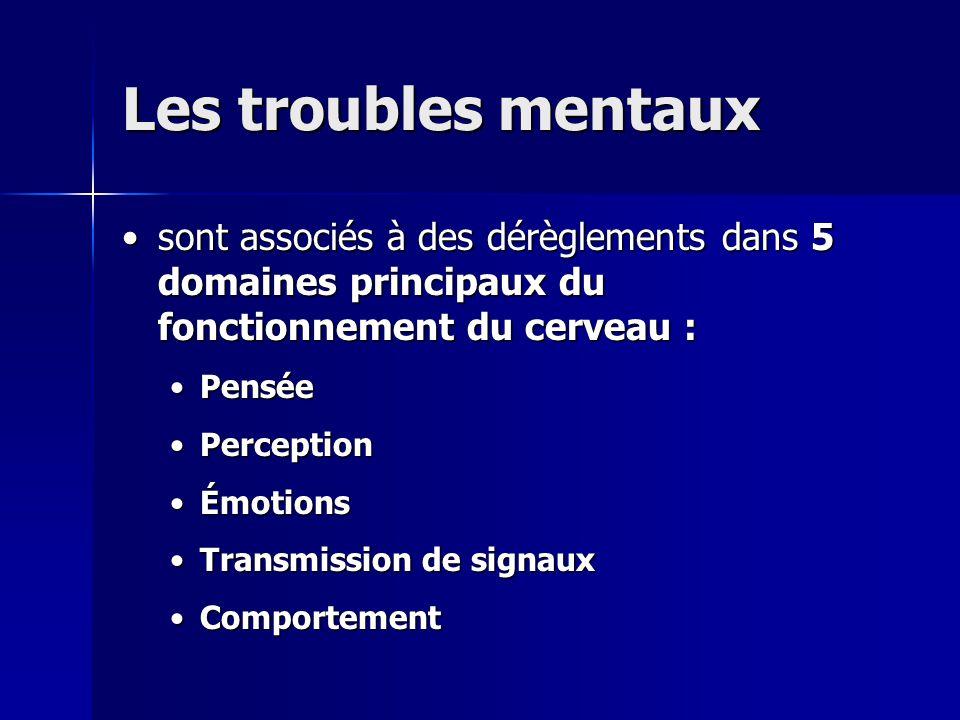 Les troubles mentaux •sont associés à des dérèglements dans 5 domaines principaux du fonctionnement du cerveau : •Pensée •Perception •Émotions •Transm