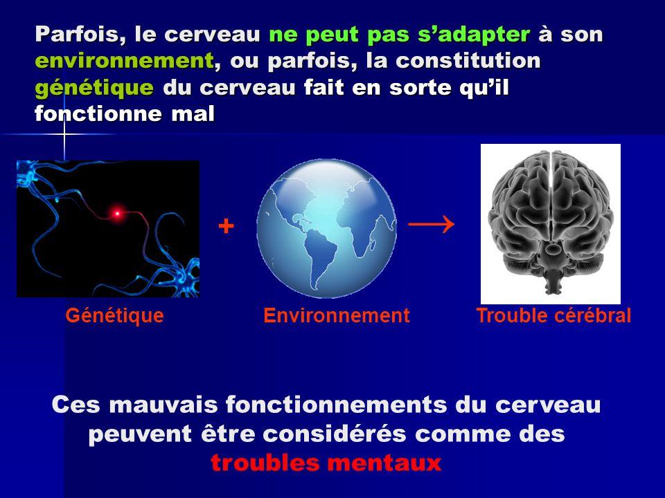 Pensée Lorsque le cerveau ne fonctionne pas correctement, une ou plusieurs de ses fonctions sont déréglées Perception Émotions Transmission de signaux C omportement Physique