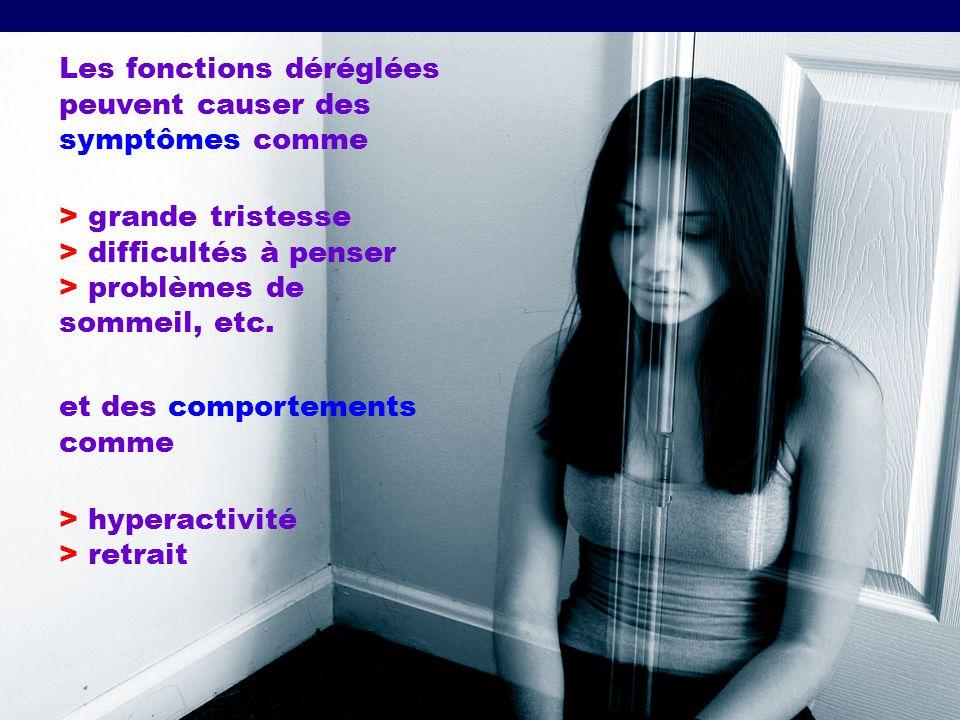 Les fonctions déréglées peuvent causer des symptômes comme > grande tristesse > difficultés à penser > problèmes de sommeil, etc. et des comportements