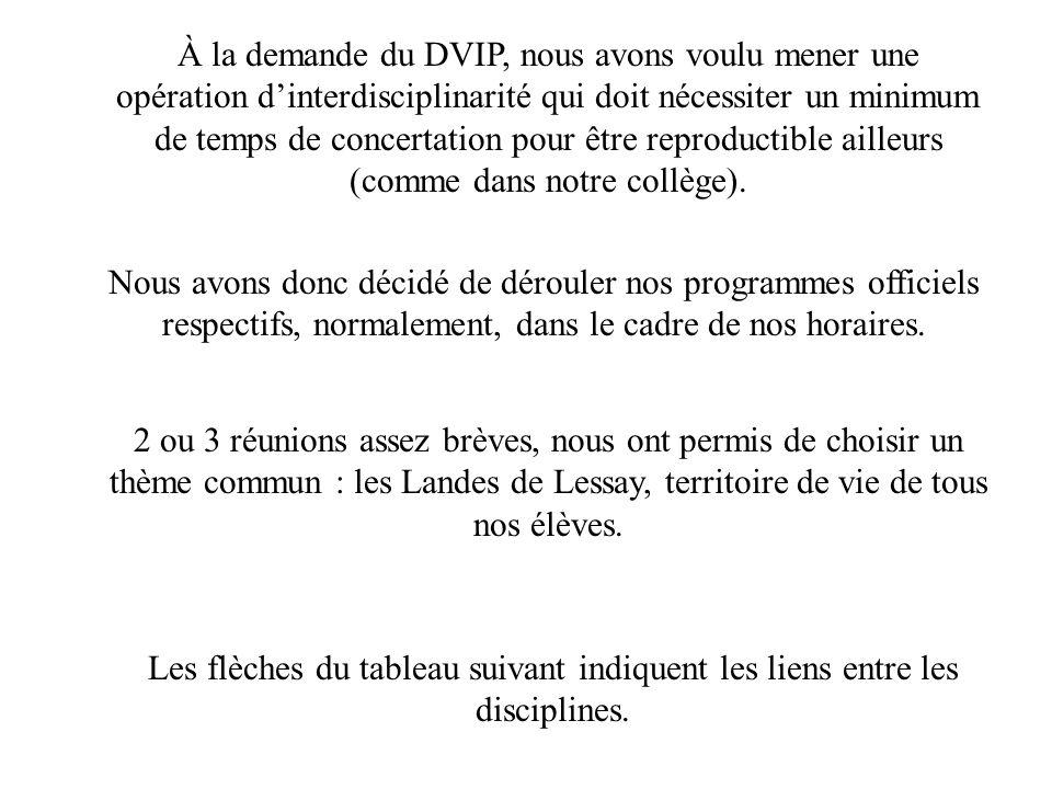 À la demande du DVIP, nous avons voulu mener une opération d'interdisciplinarité qui doit nécessiter un minimum de temps de concertation pour être reproductible ailleurs (comme dans notre collège).