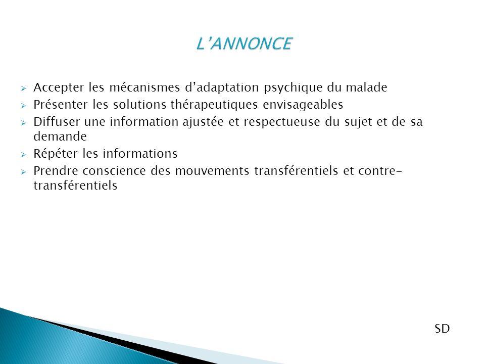  Accepter les mécanismes d'adaptation psychique du malade  Présenter les solutions thérapeutiques envisageables  Diffuser une information ajustée e