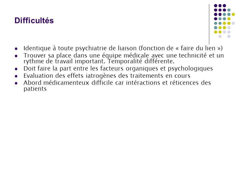 Difficultés  Identique à toute psychiatrie de liaison (fonction de « faire du lien »)  Trouver sa place dans une équipe médicale avec une technicité