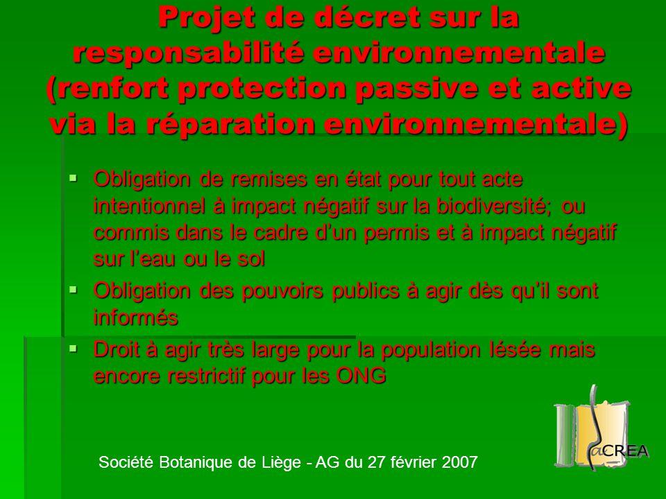 Projet de décret sur la responsabilité environnementale (renfort protection passive et active via la réparation environnementale)  Obligation de remi