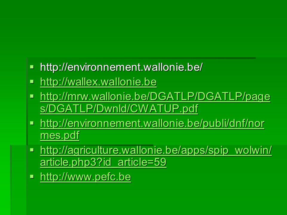  http://environnement.wallonie.be/  http://wallex.wallonie.be http://wallex.wallonie.be  http://mrw.wallonie.be/DGATLP/DGATLP/page s/DGATLP/Dwnld/C
