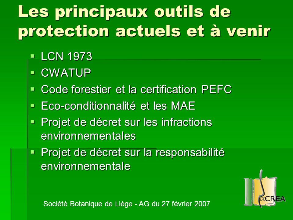 Les principaux outils de protection actuels et à venir  LCN 1973  CWATUP  Code forestier et la certification PEFC  Eco-conditionnalité et les MAE