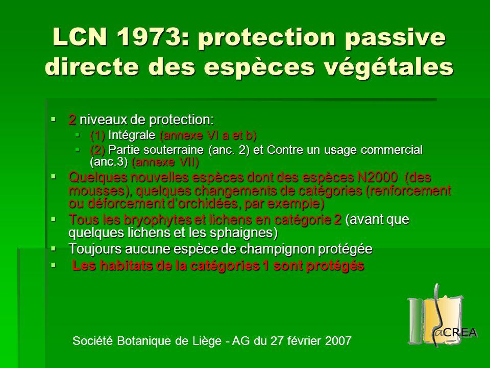 LCN 1973: protection passive directe des espèces végétales  2 niveaux de protection:  (1) Intégrale (annexe VI a et b)  (2) Partie souterraine (anc