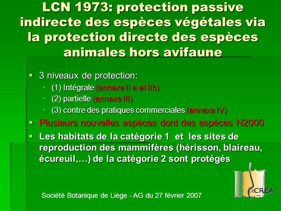 LCN 1973: protection passive indirecte des espèces végétales via la protection directe des espèces animales hors avifaune  3 niveaux de protection: 