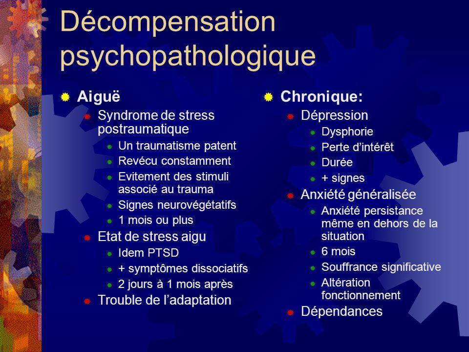 Décompensation psychopathologique  Aiguë  Syndrome de stress postraumatique  Un traumatisme patent  Revécu constamment  Evitement des stimuli ass