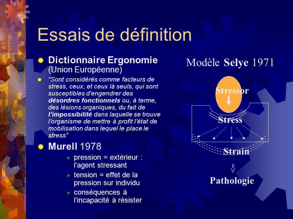 """Essais de définition  Dictionnaire Ergonomie (Union Européenne)  """"Sont considérés comme facteurs de stress, ceux, et ceux là seuls, qui sont suscept"""