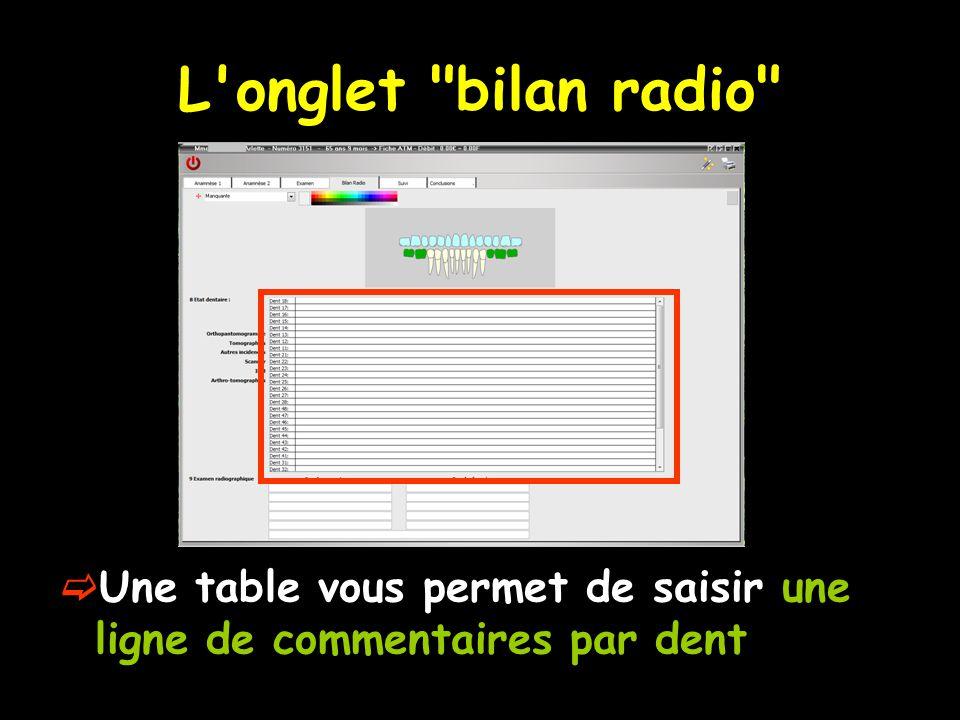 L onglet bilan radio  Une table vous permet de saisir une ligne de commentaires par dent