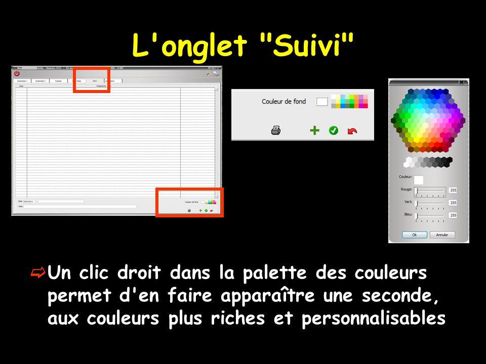 L onglet Suivi  Un clic droit dans la palette des couleurs permet d en faire apparaître une seconde, aux couleurs plus riches et personnalisables