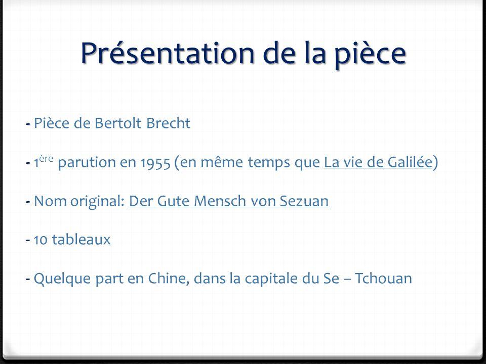 Présentation de la pièce - - Pièce de Bertolt Brecht - - 1 ère parution en 1955 (en même temps que La vie de Galilée) - Nom original: Der Gute Mensch